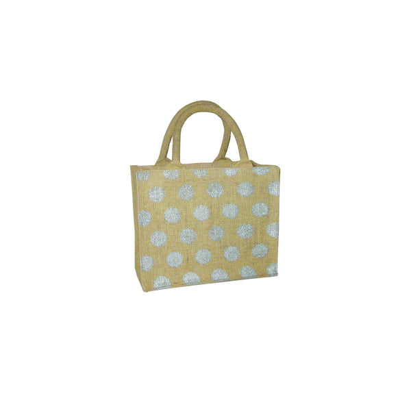 Hessian Tote Bag: Silver Polka Dot