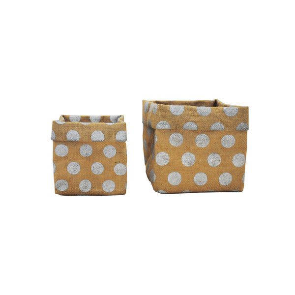 Hessian: Square Bag Silver Polka Dots