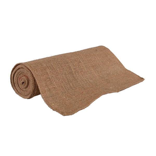Hessian: Hessian Roll 30cm x 4.57m Metallic Thread