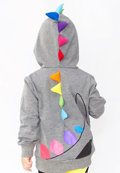 Kids Animal Hooded Sweatshirt | Dino Rainbow Spikes | Grey Black | Poshinate Kiddos Baby & Kids Boutique | back on child