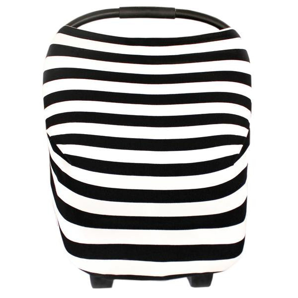 Multi Use 5 in 1 Baby Cover | Black/White Stripe