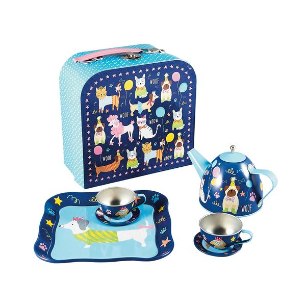 Kids Tea Party Set | Dogs & Cats | Tin 7 pc - Puzzles, Games & Toys - Poshinate Kiddos Baby & Kids Products | Dogs & Cats set all 7 pieces