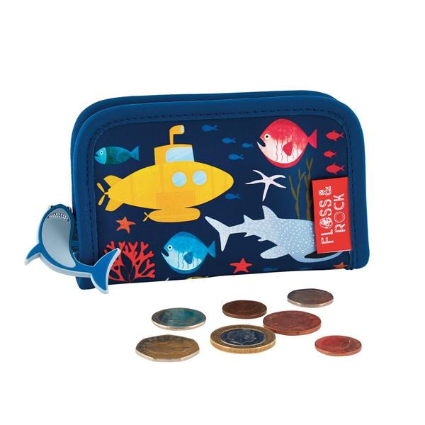 Kids Wallet | Shark - Accessories - Poshinate Kiddos Baby & Kids Products | wallet under the sea with shark pull tag