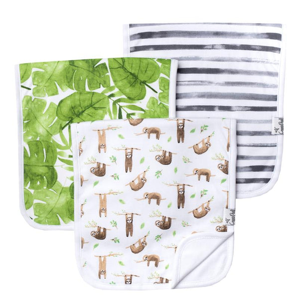 Baby Burp Cloth | Tan Sloth/Tropical Leaf/Grey Stripe 3-Pack