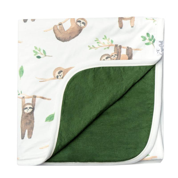 Kids Blanket | 3-Layer Knit | Tan Sloth - Blankets - Poshinate Kiddos Baby & Kids Boutique - Sloth blanket folded