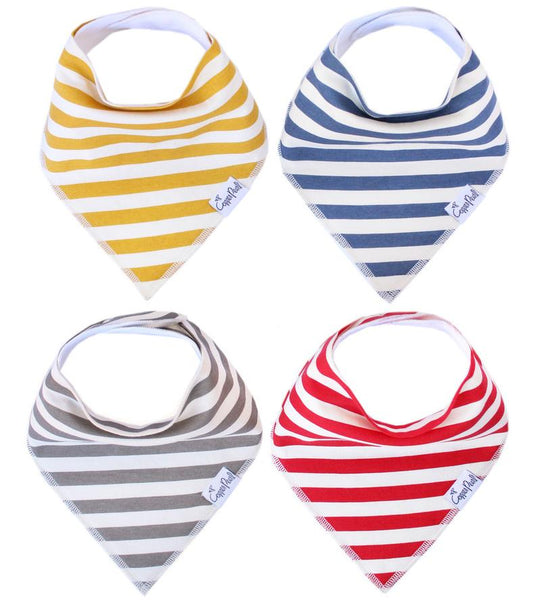 Baby Bibs | Bandana | MultiColor & White Stripe 4-Pack - Baby Bibs - Poshinate Kiddos Baby & Kids Store - 4 colors trendy bibs