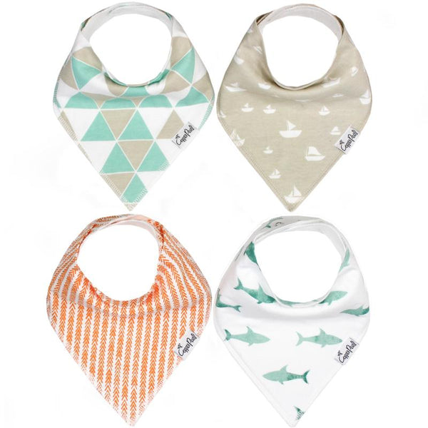 Baby Bibs | Bandana | Mint Shark / Sand Boat 4-Pack - Baby Bibs - Poshinate Kiddos Baby & Kids Boutique - variety set of 4 bibs
