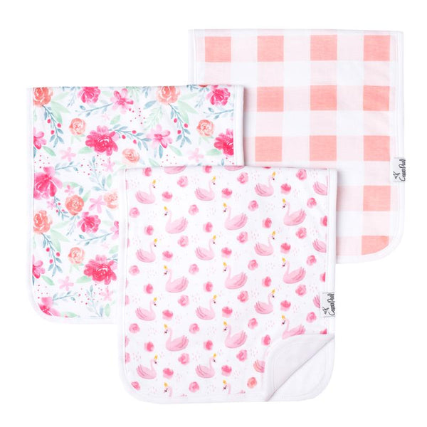 Baby Burp Cloth | Pink Swan / Peonies 3-Pack - Baby Burp Cloths - Poshinate Kiddos Baby & Kids Boutique - Pink Swan Peonies set main image