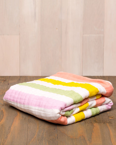 Cotton Muslin Quilt | Cabana Stripe - Blankets -  - Poshinate Kiddos