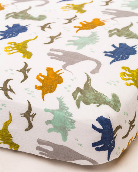 Cotton Muslin Fitted Crib Sheet | Dino Friends
