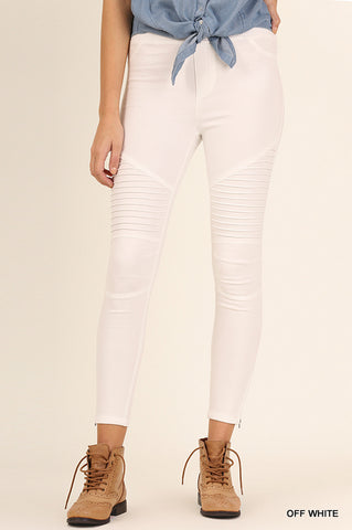 Moto Jeggings in Off White