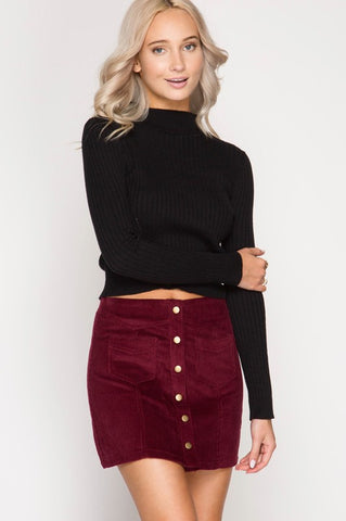 Strut In Corduroy Skirt in Wine