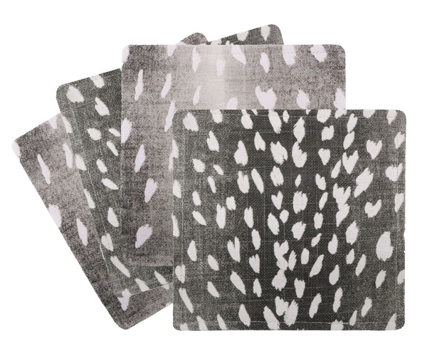 Cocktail Napkins :: Antelope Linen Print // Charcoal
