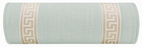 The Little Bolster :: Signature Linen // Spa Blue + Greek Key Trim // Cashmere
