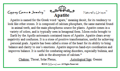 Apatite Info Card on GGandJ.com Gypsy Gems & Jewelry Naturally Unique