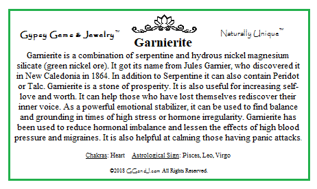 Garnierite info card on GGandJ.com Healing Metaphysical