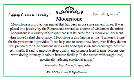 Moonstone Info Card on GGandJ.com Gypsy Gems & Jewelry Naturally Unique