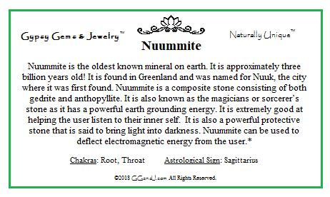 Nuummite info card on GGandJ.com