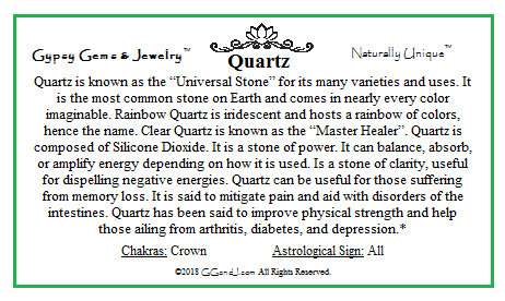 Quartz fact card on GGandJ.com Gypsy Gems & Jewelry Naturally Unique Metaphysical healing powers of quartz