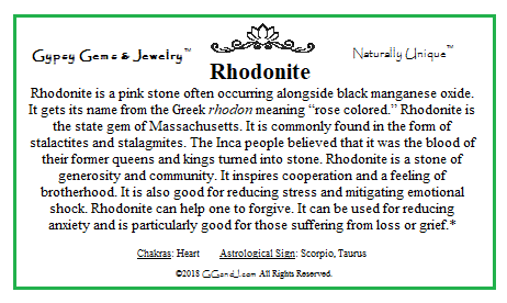 Rhodonite info card on GGandJ.com Gypsy Gems & Jewelry Naturally Unique