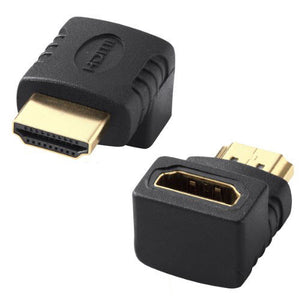 2 x 90 Degree HDMI Male to HDMI Female Port Right Angle Adapter Joiner Extender