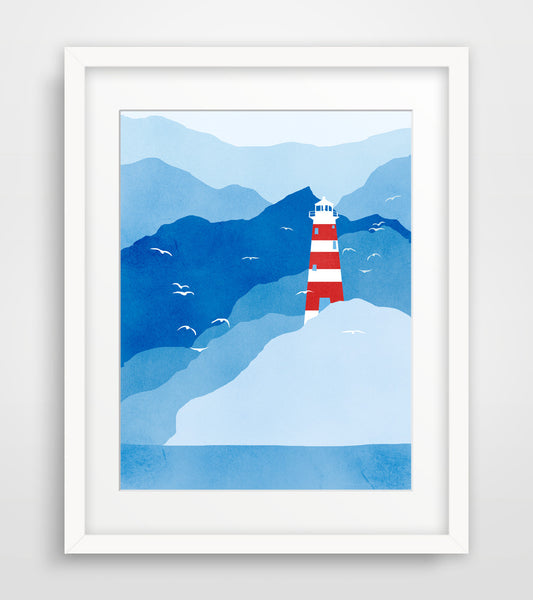 Lighthouse in Blue and Red