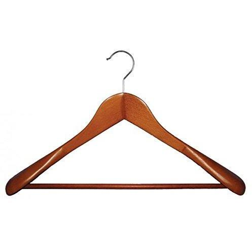 Wooden Suit Hanger with Stationary Bar - Cherry - 18""