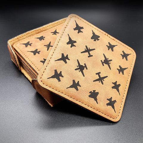 Planeform Aircraft Patterned Leather Coaster Set - PLANEFORM