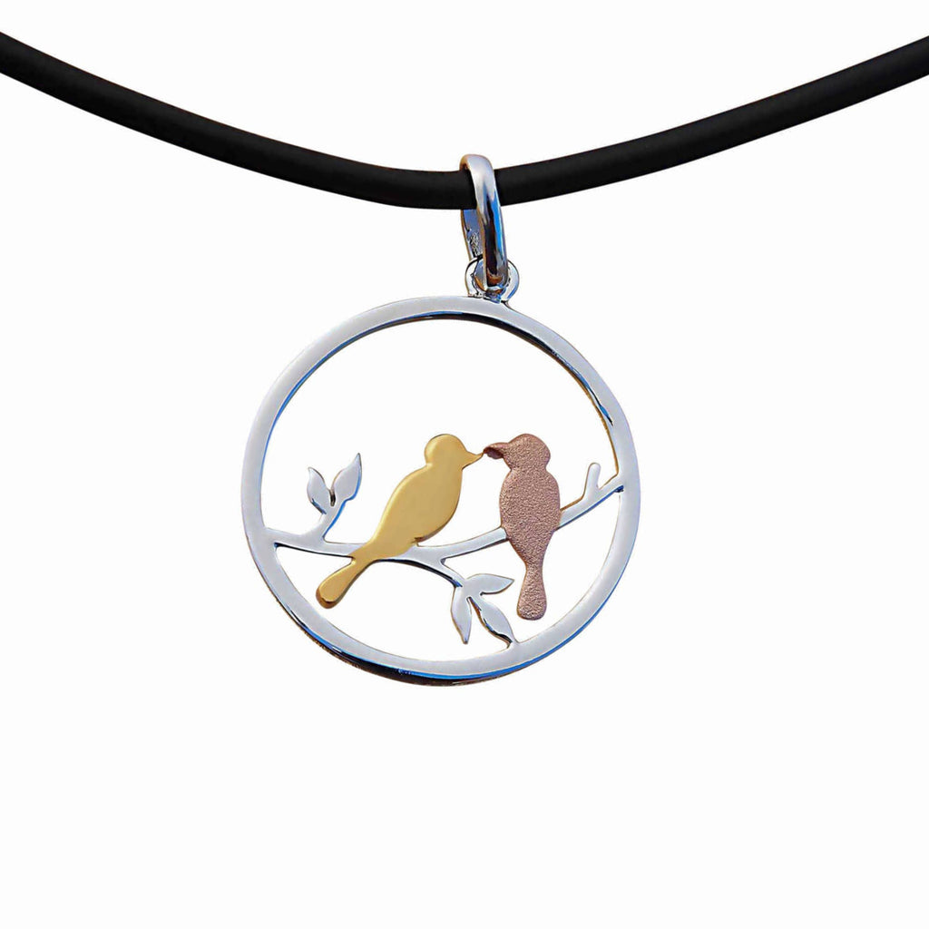 Love Birds Pendant Necklace Small Sterling Silver Handmade Jewellery Internet Shop
