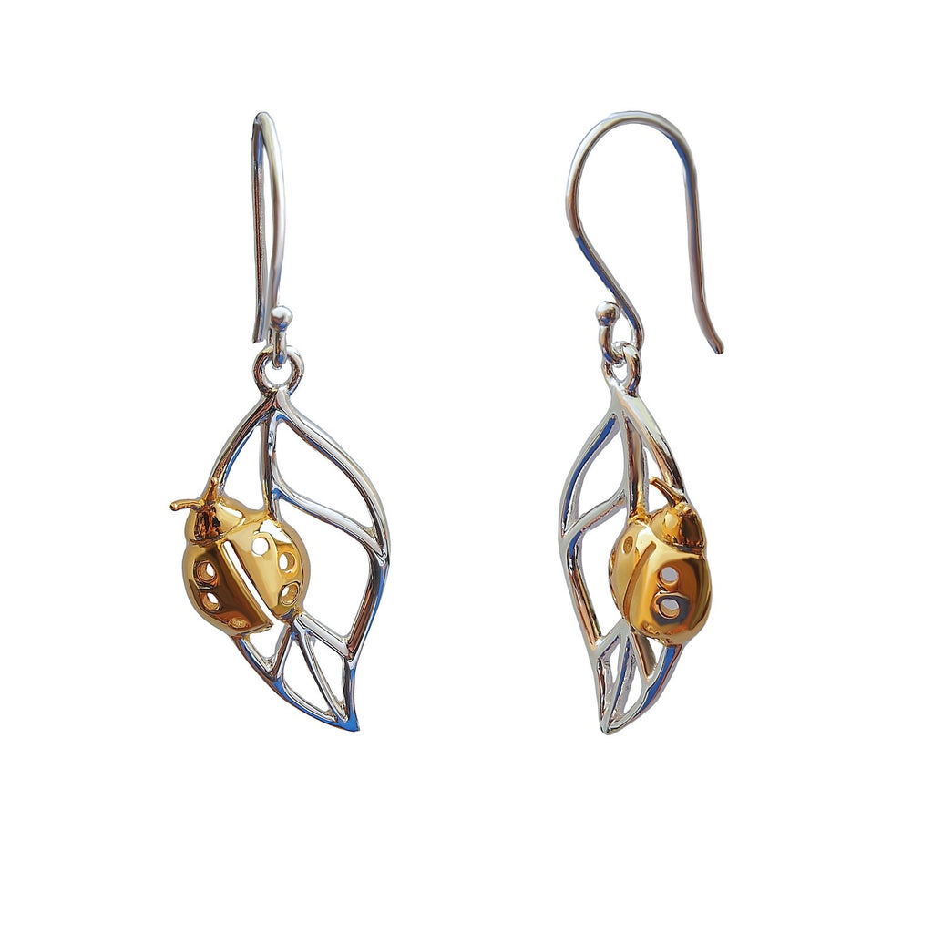 LadyBug Earrings Sterling Silver Gold Plated Trezoro Jewellery Online Store