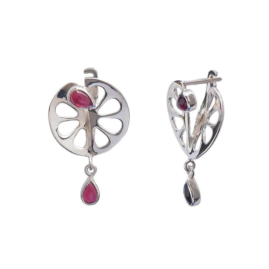 Tangerine Earrings -Sterling Siver Garnet Gemstones - Trezoro Jewellery Online Store