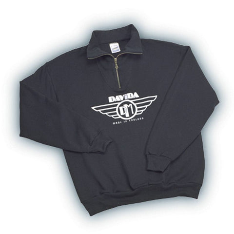 Davida Sweatshirts - Black with White Davida Wing Logo - Davida Motorcycle helmets