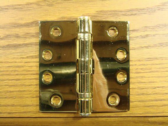 "Polished Brass Finish Hinges Solid Brass Ball Bearing 4"" x 4"" with Square Corners - Sold in Pairs - Solid Brass Hinges"