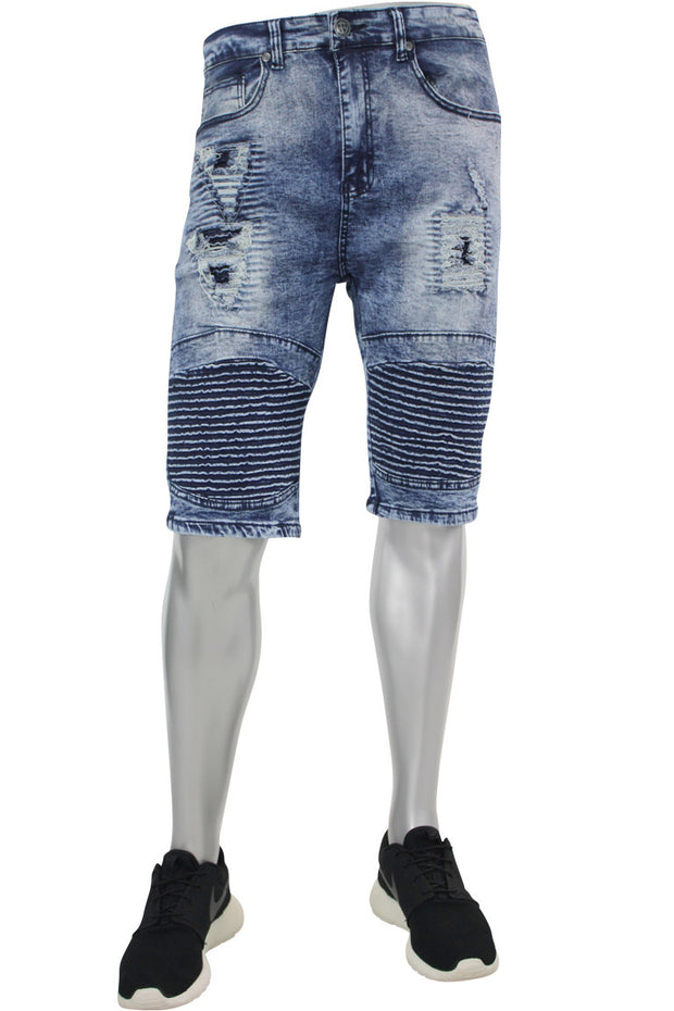 Moto Rip Denim Shorts Blue Grey Wash (M7154D)