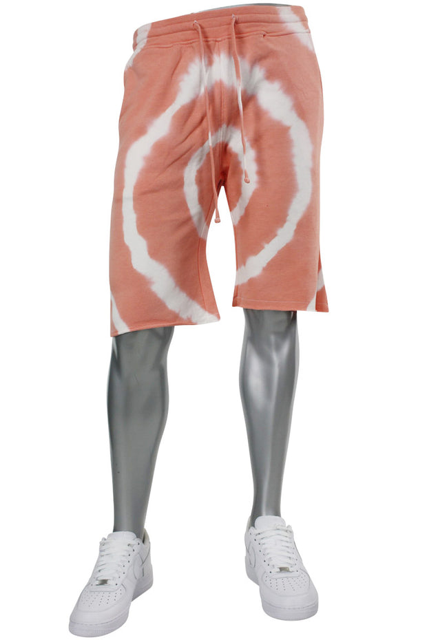 Tie Dye Fleece Martian Shorts Peach (BKP714)