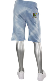 Tie Dye Fleece Martian Shorts Blue (BKP714)