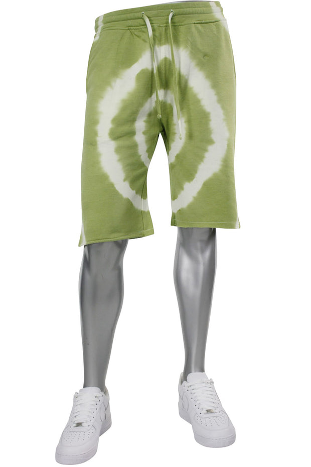Tie Dye Fleece Martian Shorts Green (BKP714)