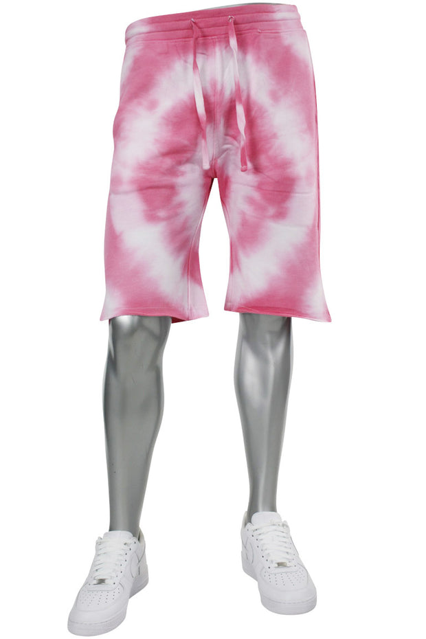 Tie Dye Fleece Martian Shorts Pink (BKP714)