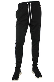 Side Stripe Pique Track Pants Black - Blue - White (1276)