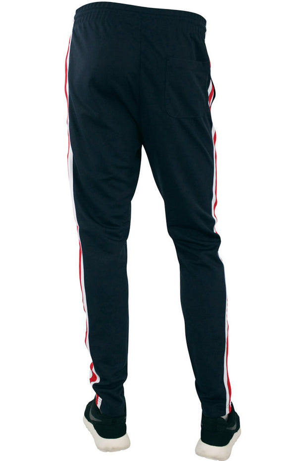 Side Stripe Pique Track Pants Navy - Red - White (1276)