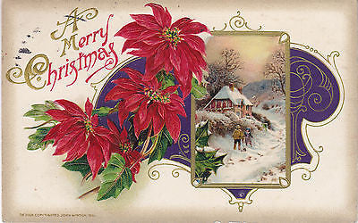 """ A Merry Christmas"" Winter Scene-Pointsettia John Winsch Postacrd - Cakcollectibles - 1"