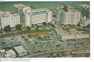 Aerial View of Luxury Hotels at 63rd Street-Miami Beach,Florida 1957 - Cakcollectibles
