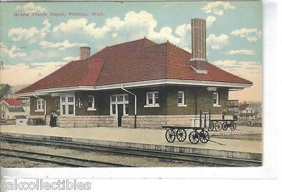 Grand Trunk Depot-Pontiac,Michigan 1912 - Cakcollectibles - 1