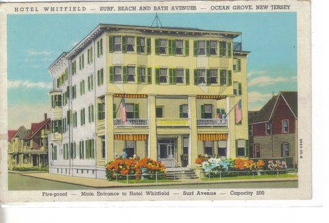Hotel Whitfield-Ocean Grove,New Jersey -vintage postcard - 1