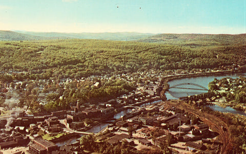 Aerial View - Bellows Falls - Vermont front of vintage postcard