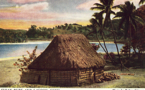 Fijian Bure and Lagoon - Cuvu Vintage Postcard Front