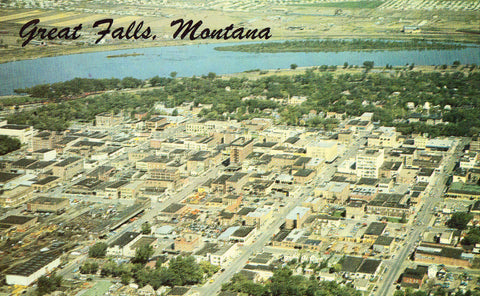 Aerial View of Great Falls,Montana.Front of vintage postcard