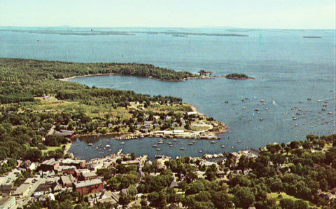 Aerial View of The Harbor from the West - Camden,Maine.Vintage postcard front