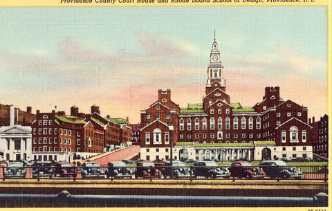 Linen postcard front - Providence County Court House - Providence,Rhode Island