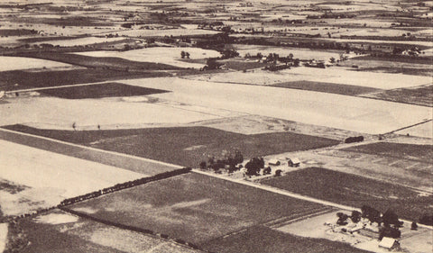 Vintage postcard Aerial View of Patchwork Agricultural Fields - Kansas